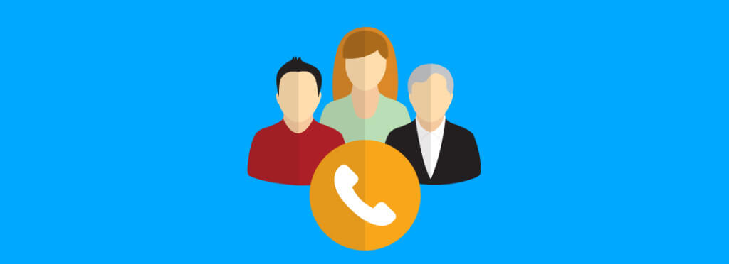 Three people icons behind a call icon