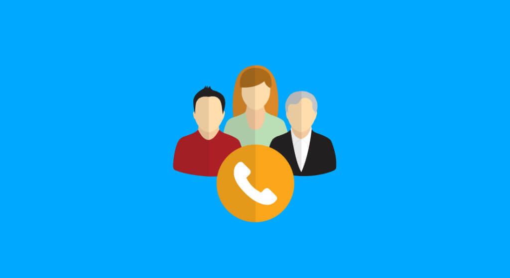 larger three people icons behind a call icon