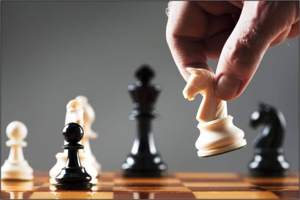 Chess pieces during a match