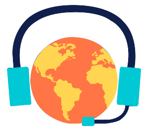Globe with headset on